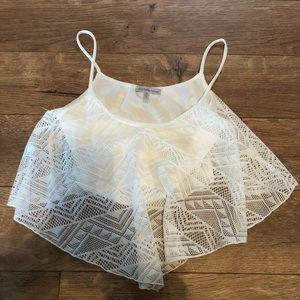 White lace crop tank top